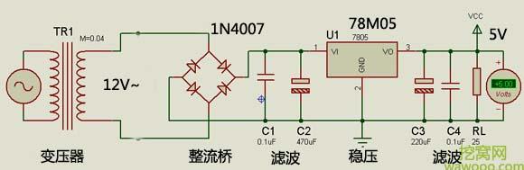 78M05稳压电路图
